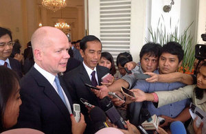 The Foreign Secretary talking to the media outside Jakarta City Hall