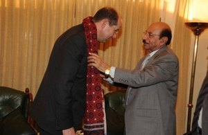 Philip Barton with Syed Qaim Ali Shah