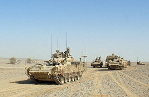 Vehicles of the manoeuvre battle group roll out [Picture: Crown copyright]