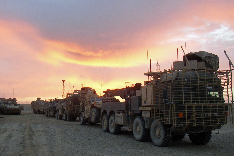 Part of the 180-vehicle American convoy