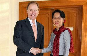 Hugo Swire and Aung San Suu Kyi