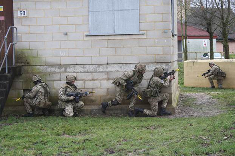 Soldiers taking part in Exercise Badgers' Hole on Salisbury Plain