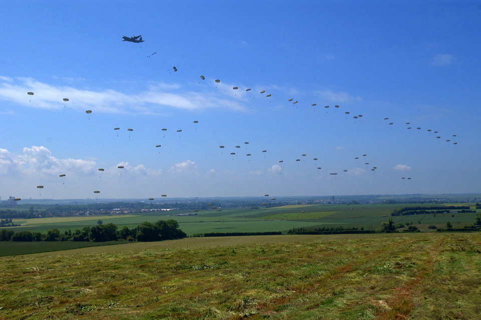 British paratroopers are dropped over Normandy, France (library image)