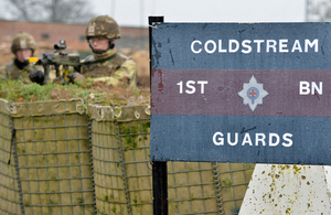 Members of the Coldstream Guards man a mock-up of a forward operating base [Picture: Sergeant Steve Blake, Crown copyright]