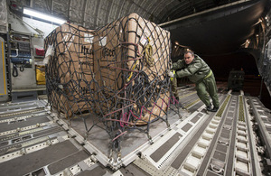 Equipment being loaded onto the RAF C-17 aircraft [Picture: Senior Aircraftman Ben Lees, Crown copyright]