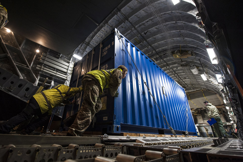 Equipment being loaded onto the RAF C-17 aircraft