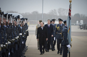 An RAF guard of honour greets French President Francois Hollande and UK Prime Minister David Cameron at RAF Brize Norton [Picture: Sergeant Dave Rose RAF, Crown copyright]