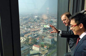 Hugo Swire at the Vattanac Tower in Cambodia