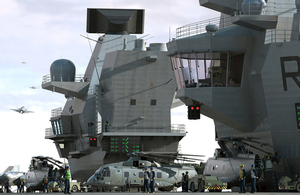 Computer-generated image of flight deck operations on the aircraft carrier HMS Queen Elizabeth [Picture: Copyright Aircraft Carrier Alliance]