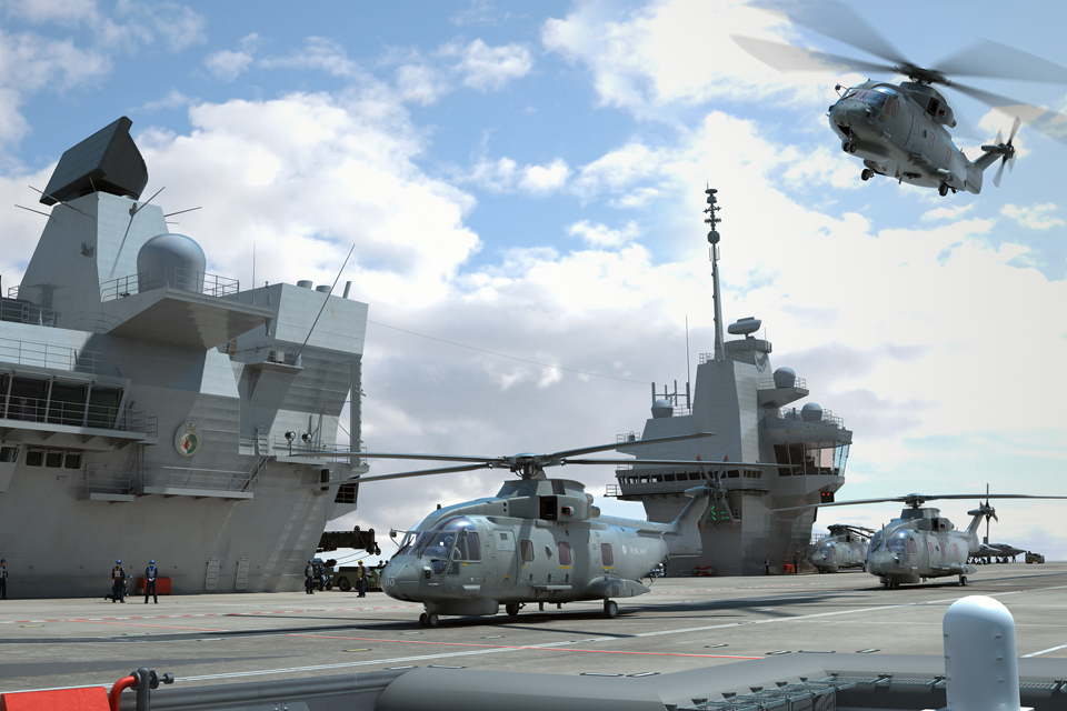 Merlin helicopters operating from an aircraft carrier