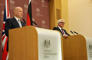 The Foreign Secretary William Hague and Foreign Minister of Germany Frank-Walter Steinmeier.