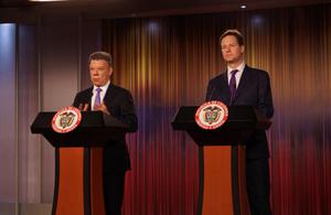 Deputy Prime Minister Nick Clegg and President Santos