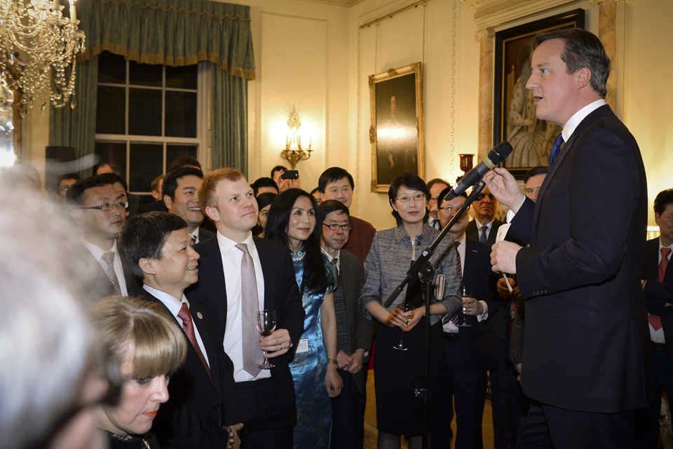 David Cameron speaking at the Number 10 Chinese New Year reception
