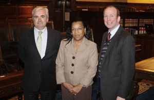Crystal Robinson meets presiding officers at the High Court of Tynwald, the legislature of the Isle of Man.