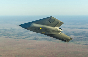 Taranis in flight [Picture: Chris Ryding, BAE Systems]