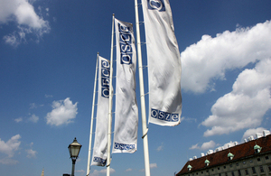 Flags outside the OSCE headquarters in Vienna, Austria