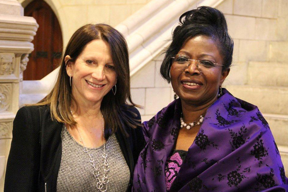 Efua Dorkenoo with UK International Development Minister Lynne Featherstone. Picture: Lindsay Mgbor/DFID