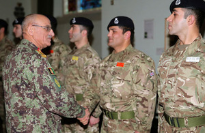 General Karimi meets Afghan officer cadets at the Royal Military Academy Sandhurst [Picture: Crown copyright]