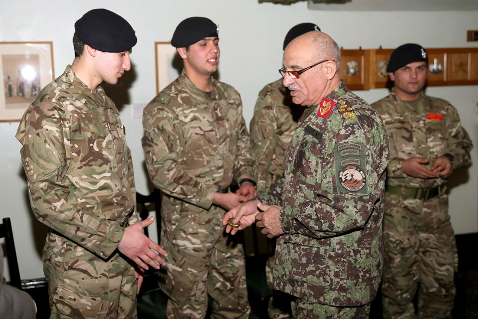 General Karimi meets Afghan officer cadets