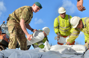 Royal Marines assist with the flood relief effort [Picture: Leading Airman (Photographer) Rhys O'Leary, Crown copyright]