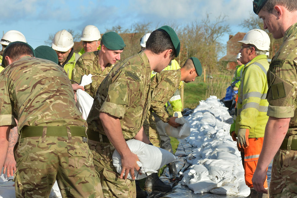 Royal Marines assist with the flood relief effort