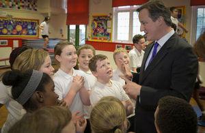 David Cameron speaks to schoolchildren about sport.