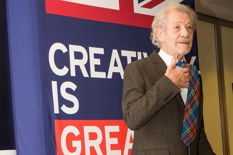 Sir Ian showed off his tie, in the Macbeth tartan print.