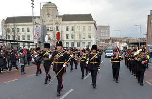 The Royal Artillery Band marches through the streets of Woolwich for the last time [Picture: Sergeant Steve Blake RLC, Crown copyright]
