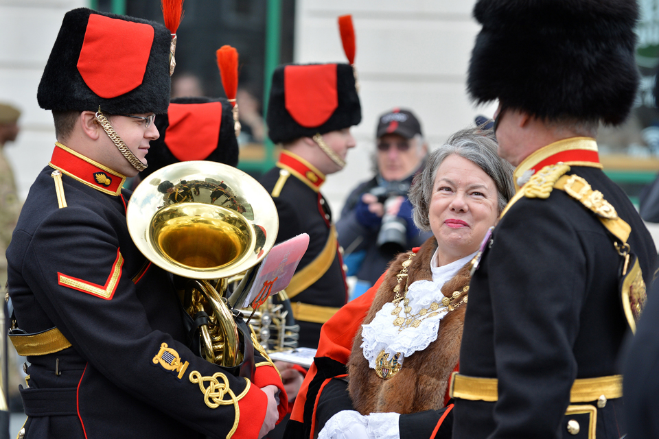 The Mayor of the Royal Borough of Greenwich meets members of the band