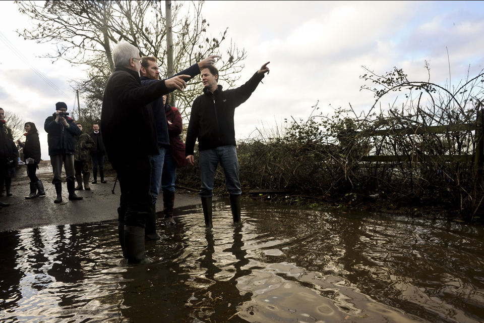 Deputy Prime Minister Nick Clegg visits the flooding sites at Burrowbridge, Somerset.