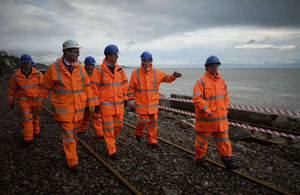 David Cameron paid a visit to Dawlish to speak to the workers and view the damaged coastal railway line.