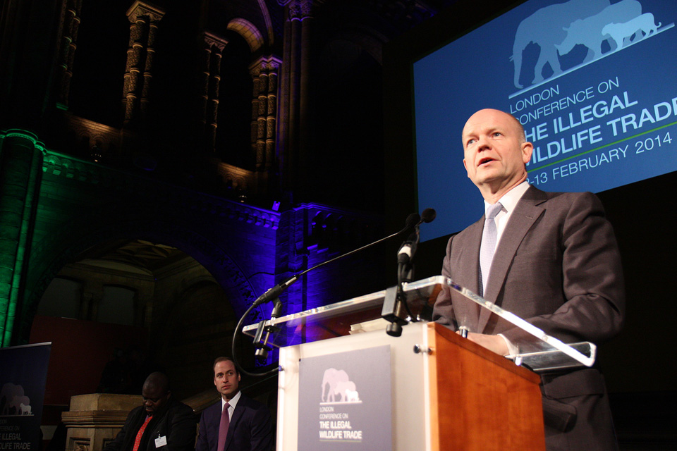 William Hague speaking at Natural History Museum