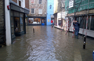 Flooding at Fowey Albert Quay, Cornwall
