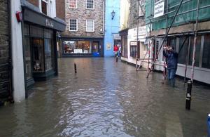 Flooding at Fowey Albert Quay, Cornwall