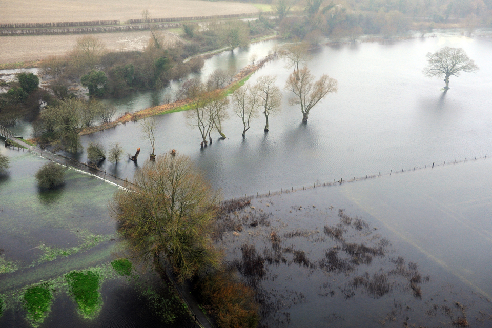 Aerial view of flooding in Oxfordshire