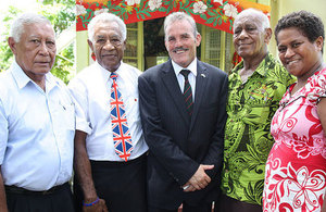 Major Jim Hall (British Army Support Officer, British High Commission Suva) with members of the Royal British Legion Fiji branch.