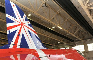 The Red Arrows' 50th display season tail design and logo on one of the team's Hawk jets [Picture: Senior Aircraftman Craig Marshall, Crown copyright]