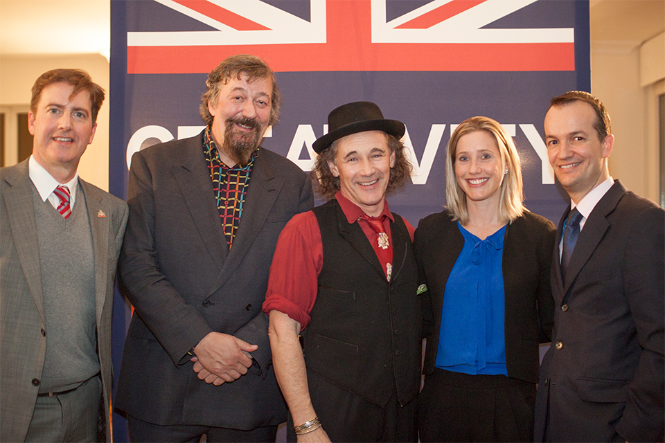 From left: Neil Constable, Stephen Fry, Mark Rylance, Susan Lopez, Danny Lopez