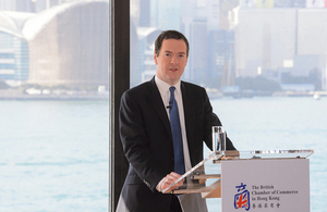 The Chancellor emphasised the special ties between the UK and Hong Kong in a major speech to the British Chamber of Commerce.