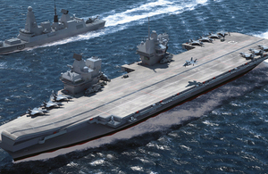 Computer-generated image of the Royal Navy's new aircraft carrier HMS Queen Elizabeth [Picture: Copyright BAE Systems]