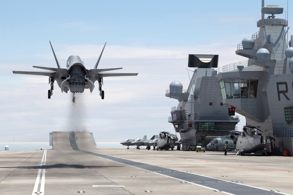 Computer-generated image of the flight deck of HMS Queen Elizabeth