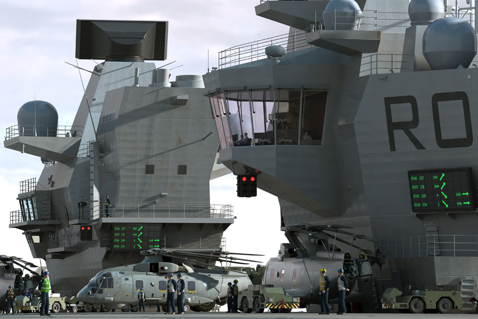 Computer-generated image of HMS Queen Elizabeth's superstructure