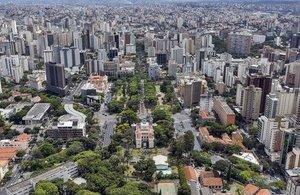 Vista aérea da Praça da Liberdade, em Belo Horizonte