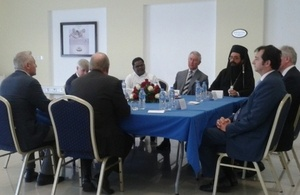 HRH taking part in a discussion with Christian community leaders