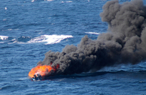 The speedboat was destroyed once its crew and cargo had been seized [Picture: US Coast Guard]