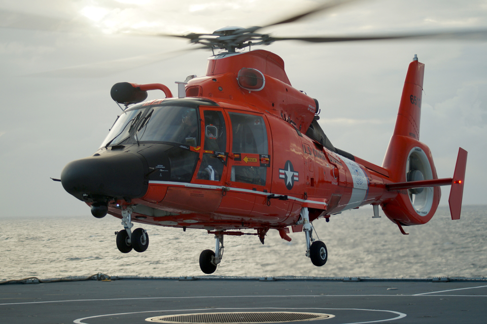 A US Coast Guard Dolphin helicopter