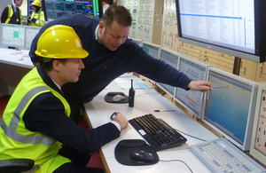 Deputy Prime Minister Nick Clegg at control centre of Peterhead power station