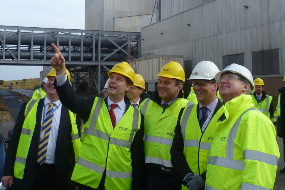 Deputy Prime Minister Nick Clegg outside Peterhead power station