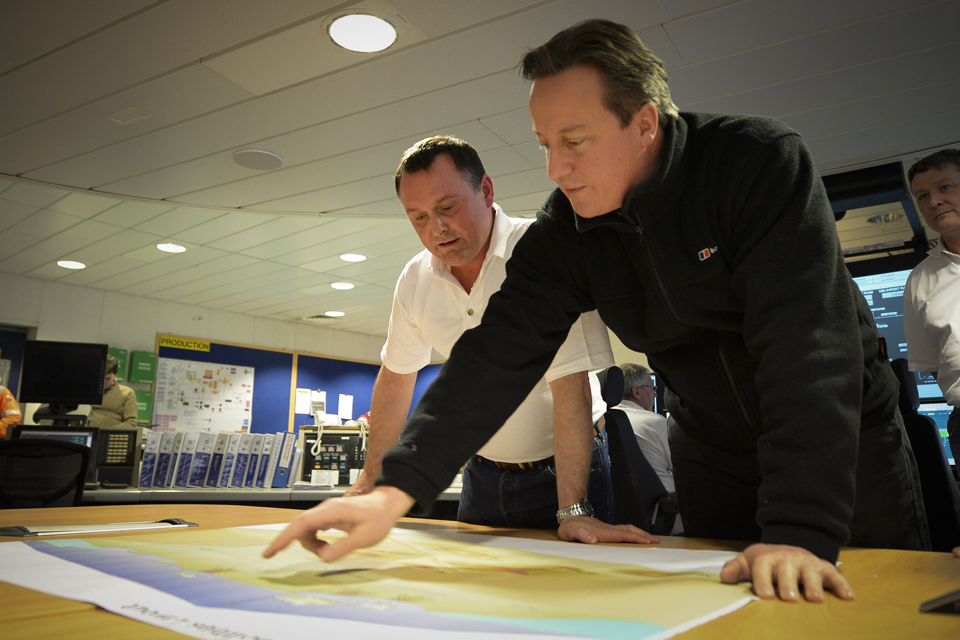 David Cameron visits a BP oil and gas platform.