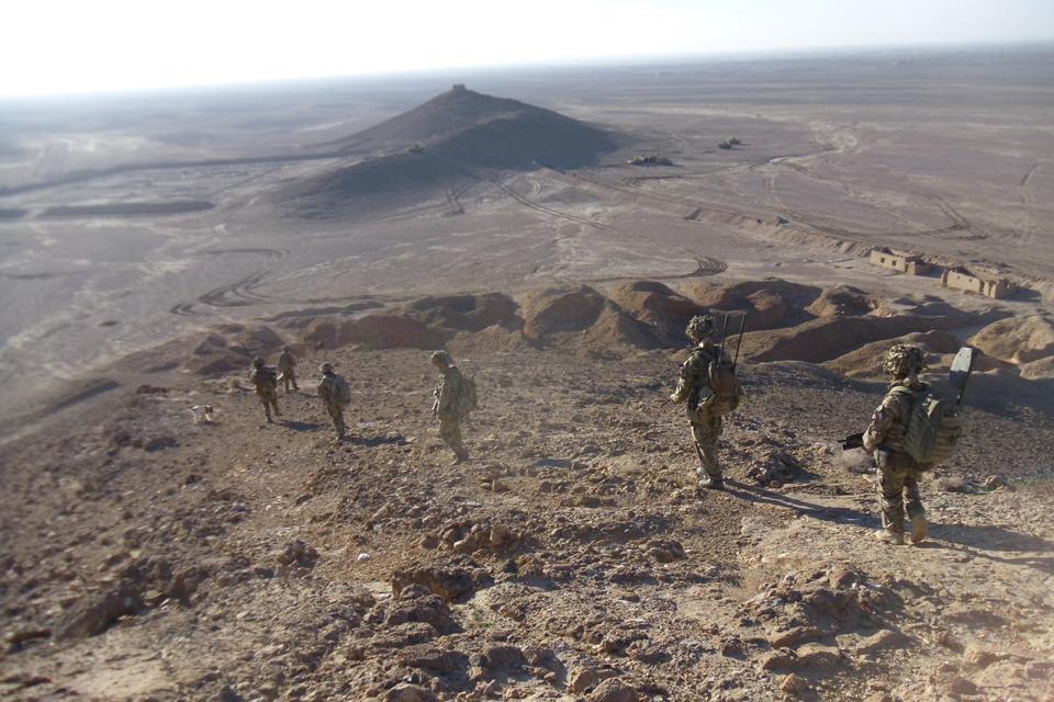 Soldiers on patrol in Helmand
